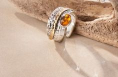 "Carla Mutoni Ring ""Amber"" Bernstein, Messing, Amber, Deco, Reach In Closet, Chic, Ring, Handarbeit, Ivy"