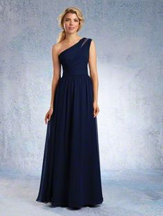 Alfred Angelo Style 7322L: Floor length one shoulder bridesmaid dress with sheer organza inset at the shoulder and softly gathered skirt