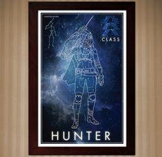 Destiny: Hunter Class  Constellation Poster  11x17 by KnerdKraft