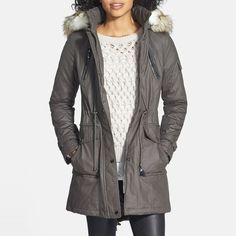 Rank & Style - Laundry by Shelli Segal Coated Parka with Faux Fur Trim #rankandstyle