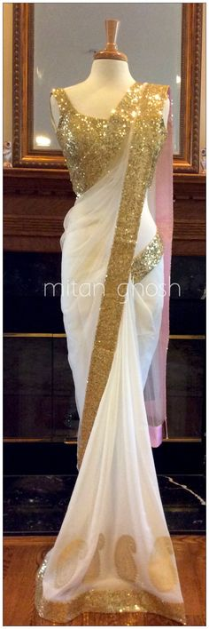 Indian Designer Party Wear Saree Georgette Border Work Plain White Saree Sari in Clothing, Shoes & Accessories, Cultural & Ethnic Clothing, India & Pakistan Indian Attire, Indian Wear, Indian Dresses, Indian Outfits, Indian Clothes, Beautiful Saree, Beautiful Dresses, Look Fashion, Indian Fashion