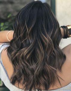 Brown Hair Balayage, Hair Color Balayage, Dark Balayage, Balayage Highlights, Balyage On Black Hair, Lowlights For Black Hair, Ombre Hair, Black Hair With Highlights, Hair Color For Black Hair