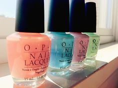 OPI nail polish- does anyone know the names of these colors!?!? they are so pretty! <3