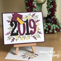 This card was made using the Number of Years stamp set. stampin up graduation, number of years, graduation card, simple graduation card, handstamped g. Graduation Cards Handmade, Graduation Crafts, Graduation Flowers, Graduation Quotes, Congratulations Graduate, Bday Cards, Stamping Up Cards, Homemade Cards, Card Making