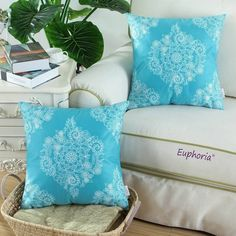 "SET OF 2 Cushion Covers PillowWhite Fleece Floral Teal Blue Ground Home18"" X18"" #EuphoriaCalitime"
