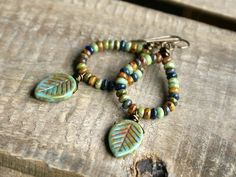 Earrings Boho Shades of Autumn - Czech Glass Earrings. Jewelry - Fine Or Fashion:Fashion Item Type:Anklets Style:Trendy Gothic Jewelry, Bohemian Jewelry, Beaded Jewelry, Fine Jewelry, Jewelry Making, Tiny Stud Earrings, Glass Earrings, Women's Earrings, Rhinestone Earrings
