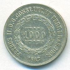 BRAZIL COIN 1000 REIS 1863 SILVER KM# 465 XF
