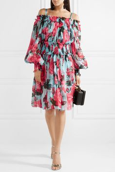 Dolce   Gabbana - Cold-shoulder floral-print silk-chiffon dress 2d1501731ef