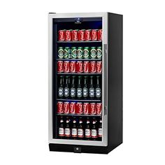 KingsBottle 300 Can Beverage Cooler Stainless Steel with Glass Door *** Additional details @