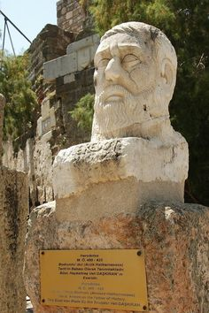 Bust of Herodotos outside the Bodrum Museum of Underwater Archeology