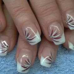 Nail art Christmas - the festive spirit on the nails. Over 70 creative ideas and tutorials - My Nails Nail Tip Designs, Fingernail Designs, French Nail Designs, Colorful Nail Designs, Fancy Nails, Cute Nails, Pretty Nails, My Nails, French Manicure Nails