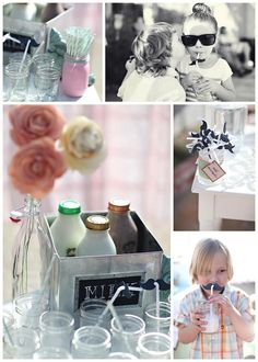 """Milk & Cookies Themed Birthday Party! Complete with """"Milk Mustaches"""" by #Linenlaceandlove, photography by #BrookeAliceonPhotography and #SamanthaPolancoPhotography"""