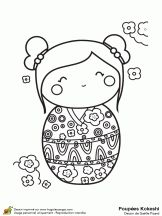 FREE printable kokeshi coloring pages !