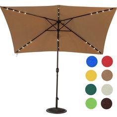 Amazon.com : Sundale Outdoor Rectangular Solar Powered 22 LED Lighted  Outdoor Patio Umbrella With