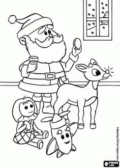 10 Best Rudolph Coloring Pages Images On Pinterest Rudolph - Coloring-pages-of-rudolph-and-santa