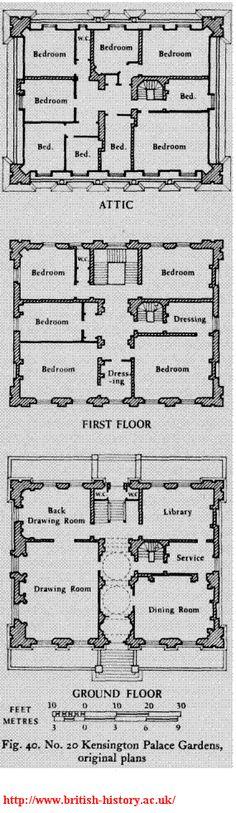 20 Kensington Palace Gardens, London, UK c1840s - original plans