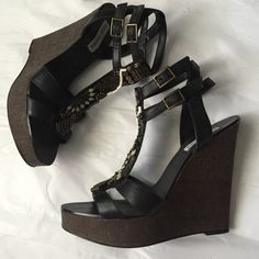 Steve madden wedge sandals! Steve Madden black leather and beaded strap wedge sandal! 5 inch wedge heel and 1 inch platform! Great condition! 2 buckles at the ankle strap! Steve Madden Shoes Sandals