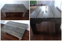 Coffee table made from recycled pallet wood with a faux finish using chalk paint and stain, covered in 2 coats of varnish.     #Art, #RepurposedPallet