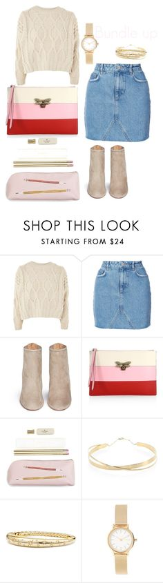 """Baby it's cold outside"" by c-squared-styling on Polyvore featuring Topshop, Anine Bing, Aquazzura, Gucci, Kate Spade, Lana Jewelry, David Yurman and Skagen"
