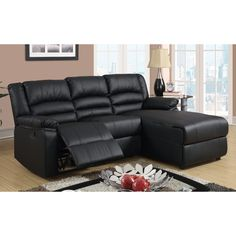 Madison Modern Small Space Sectional Reclining Sofa with Chaise