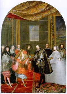 The marriage of King Louis XIV, King of France, and Maria Teresa, Infanta of Spain. Louis and Maria Teresa are waiting on the side while their fathers shake hands, sealing the marriage agreement.