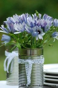 flowers in a tin can