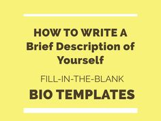 How to write a brief description or short bio of yourself Autobiography Template, Autobiography Writing, Writing A Biography, Short Bio Examples, About Me Examples, Grant Writing, Writing Tips, Personal Biography Examples, Artist Bio Example