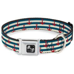 Buckle-Down Anchors with Stripes White/Blue/Red Dog Collar Bone, Small/9-15' *** For more information, visit image link. (This is an affiliate link) #Pets
