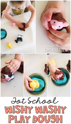 This play dough tray is a great extension activity after reading Mrs. Wishy Washy. Perfect for a farm theme in tot school, preschool, or the kindergarten classroom.