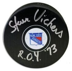 "Steve Vickers New York Rangers Autographed Puck Inscribed """"ROY 73"""""