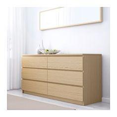 MALM Kommode 6 skuffer - egetræsfiner med hvid bejdse - IKEA