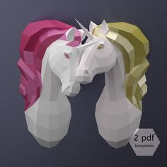 Unicorn lover, who said you had to do paper craft alone? This couple of low poly unicorn trophies in slightly different postures is a great excuse to spend fun time with your soul mate, sister, BBF... Regardless of your skill level, you can turn these pdf templates into lovely and lively paper sculptures. To do so: Download this set of digital templates along with their instructions, Gather 14 + 14 thick colored paper sheets (160-220gsm/65-110lbs), glue and scissors. Print, cut, glue ...