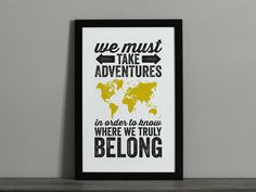 Adventures World Map Travel Poster - Graphic Poster Print Size - Custom Colors - Travel Quote on Etsy, Adventure World, Adventure Quotes, Adventure Time, World Map Travel, New Travel, Future Travel, Travel Tips, Travel Quotes, Travel Posters