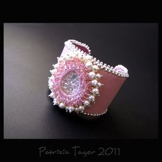 Marie Antoinette - Pink Bead Embroidered Leather Cuff Beaded with Cream Swarovski Crystal Pearls