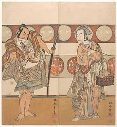 The Actors Ichikawa Yaozo III and Nakamura Sukegoro II  Katsukawa Shunshô  (Japanese, 1726–1792)  Period: Edo period (1615–1868) Date: ca. 1791 Culture: Japan Medium: Polychrome woodblock print; ink and color on paper