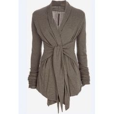 """Stylish Turn-Down Long Sleeve Drape Sweater Shirt  BRAND NEW   LONG SLEEVE SELF-TIE SWEATER SIZE: Large (8-10)  *Trench *Asymmetric Length *Long-Length *Turn-down collar  *Long sleeves *Accessories not included *Length: 28.5""""  Color: Gray Fabric: Polyester   ✅ Bundle Discounts ✅ Sweaters"""