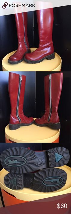 """John Fluevog 15"""" tall red leather dream These boots show some wear on the soles but not much. The red leather has a slight sheen, the interior is matt camel colored leather. They have the signatory Fluevog style and quality, they are also solid as a rock. John Fluevog Shoes Combat & Moto Boots"""