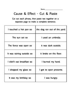 Brain Development - Abstract Reasoning - Cause & Effect - 3 printable worksheet activities - matching, cut & paste, finish the chart First Grade Activities, Reading Activities, Therapy Activities, Teaching Reading, Guided Reading, Learning, Cause And Effect Worksheets, Cause And Effect Activities, Reading Strategies
