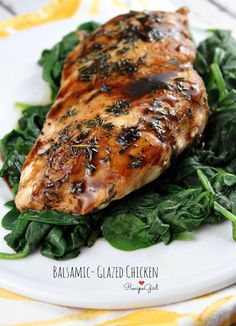 Balsamic- Glazed Chicken #recipe - RecipeGirl.com Balsamic Glazed Chicken, Balsamic Chicken Recipes, Chicken Glaze, Fast Chicken Recipes, Chicken Meals, Pollo Loco, Fat Burning Foods, Winner Winner Chicken Dinner, Recipe Girl