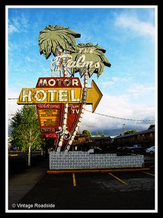 Greetings from The Palms - Portland, Oregon    The last light of the day hits the Palms Motor Hotel sign along Interstate Avenue in Portland, OR.