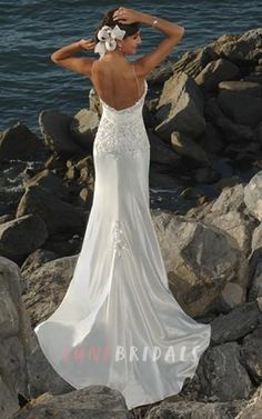 Sheath Column Spaghetti Straps Satin Wedding Dress - June Bridals