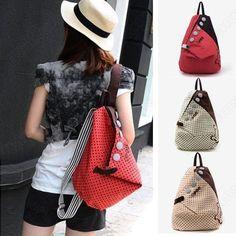 Girls Vintage Canvas Backpack Back Pack Rucksack Womens School Shoulder Bag Shopper Hiking Bookbag 02LB
