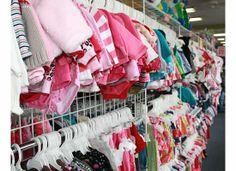 Rows of baby girl items
