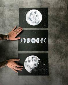 Este posibil ca imaginea să conţină: unul sau mai mulţi oameni Small Canvas Art, Mini Canvas Art, Moon Painting, Sketch Painting, Art Diy, Diy Wall Art, Arte Sharpie, Black Paper Drawing, Wal Art