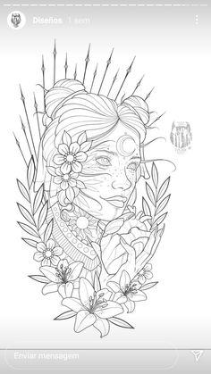 Tattoo Sketches, Tattoo Drawings, Tattoo Art, Blackwork, Tattoo Stencils, Art Reference Poses, Art Sketchbook, Tattoo Inspiration, Girl Tattoos