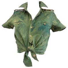 Preowned 1990s Balenciaga Green Shirt ($433) ❤ liked on Polyvore featuring tops, green, green top, balenciaga, shirt top, balenciaga top and green shirt
