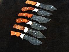 6,HANDMADE DAMASCUS steel HUNTING KNIVES BEST ( SUMMER OFFER ) CAW BURL WOOD HLD #HANDMADE