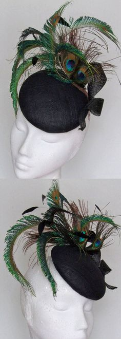 Peacock and Black Feather Cocktail Hat Fascinator for Day at the Races or Wedding Guests. Would be great for Winter or Summer Wedding Guest outfits. Kentucky Derby, Royal Ascot, Melbourne Cup fashions on the field. Ladies Day fashion. #ladiesday #motherofthebride #weddings #peacocksfeathers #peacockfascinator #cocktailhats #millinery #derbyhats #etsyfinds #affiliatelink #fascinators