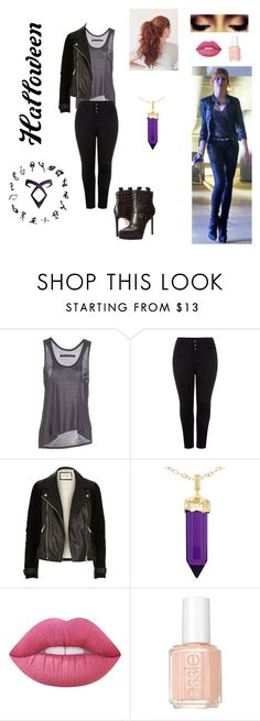 """DIY Halloween costume : Being a Shadowhunters like Clary Fray"" by notamundane ❤ liked on Polyvore featuring Enza Costa, New Look, River Island, Simone I. Smith, Lime Crime and Essie"
