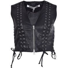 Eyelet Lace Up Detail Vest ($533) ❤ liked on Polyvore featuring outerwear, vests, black, womenclothingtopwear, mcq by alexander mcqueen, sleeveless vest, sleeveless waistcoat, v neck vest and v-neck vest
